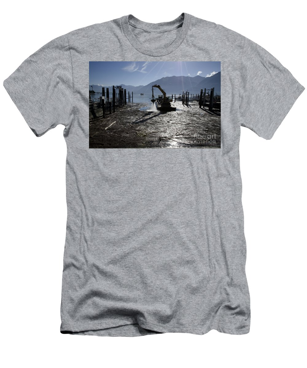 Excavator Men's T-Shirt (Athletic Fit) featuring the photograph Excavator Clean A Harbor by Mats Silvan