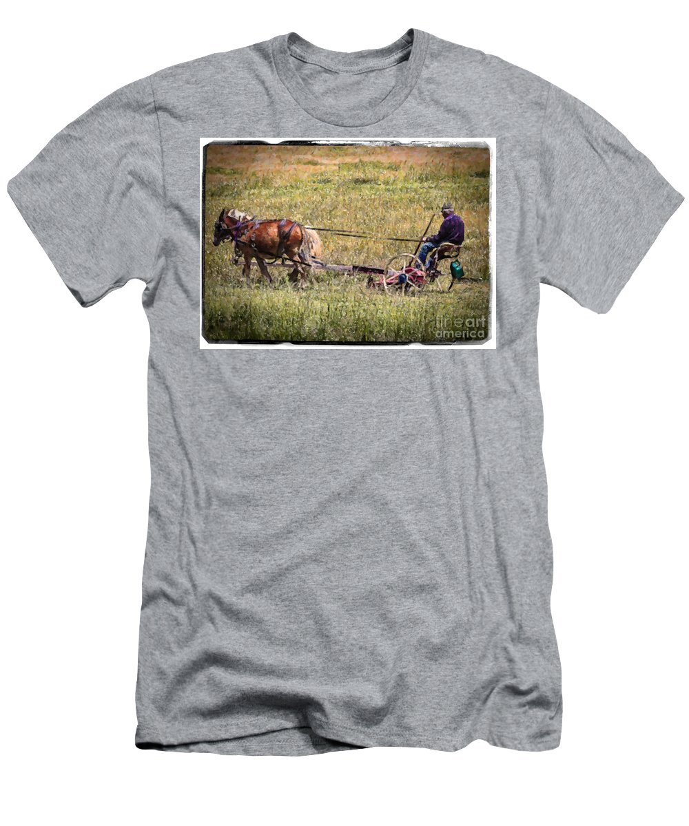 Farm Men's T-Shirt (Athletic Fit) featuring the photograph Farming With Horses by Janice Pariza