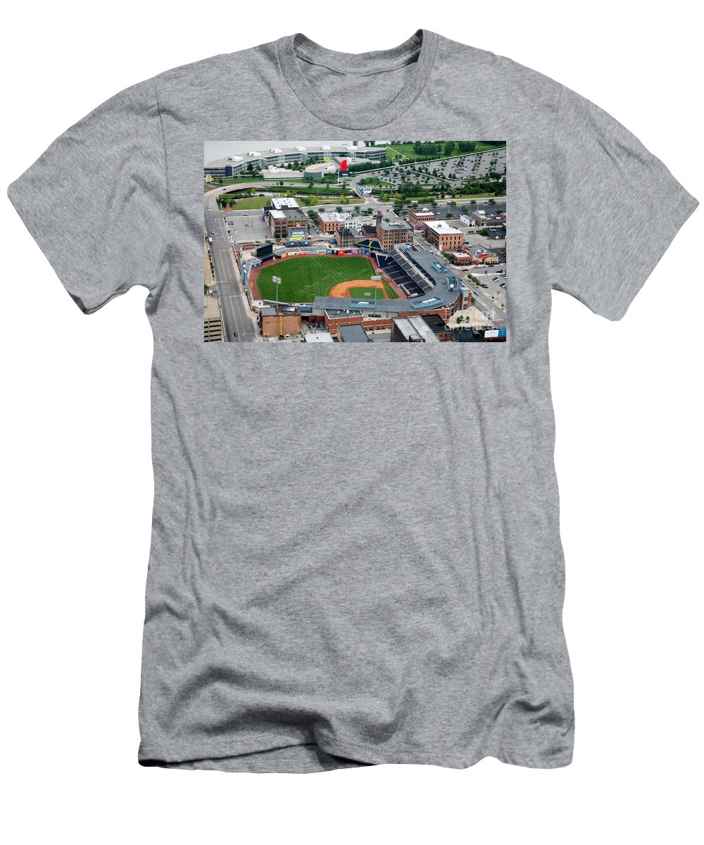 Aerial Men's T-Shirt (Athletic Fit) featuring the photograph Fifth Third Field Toledo Ohio by Bill Cobb