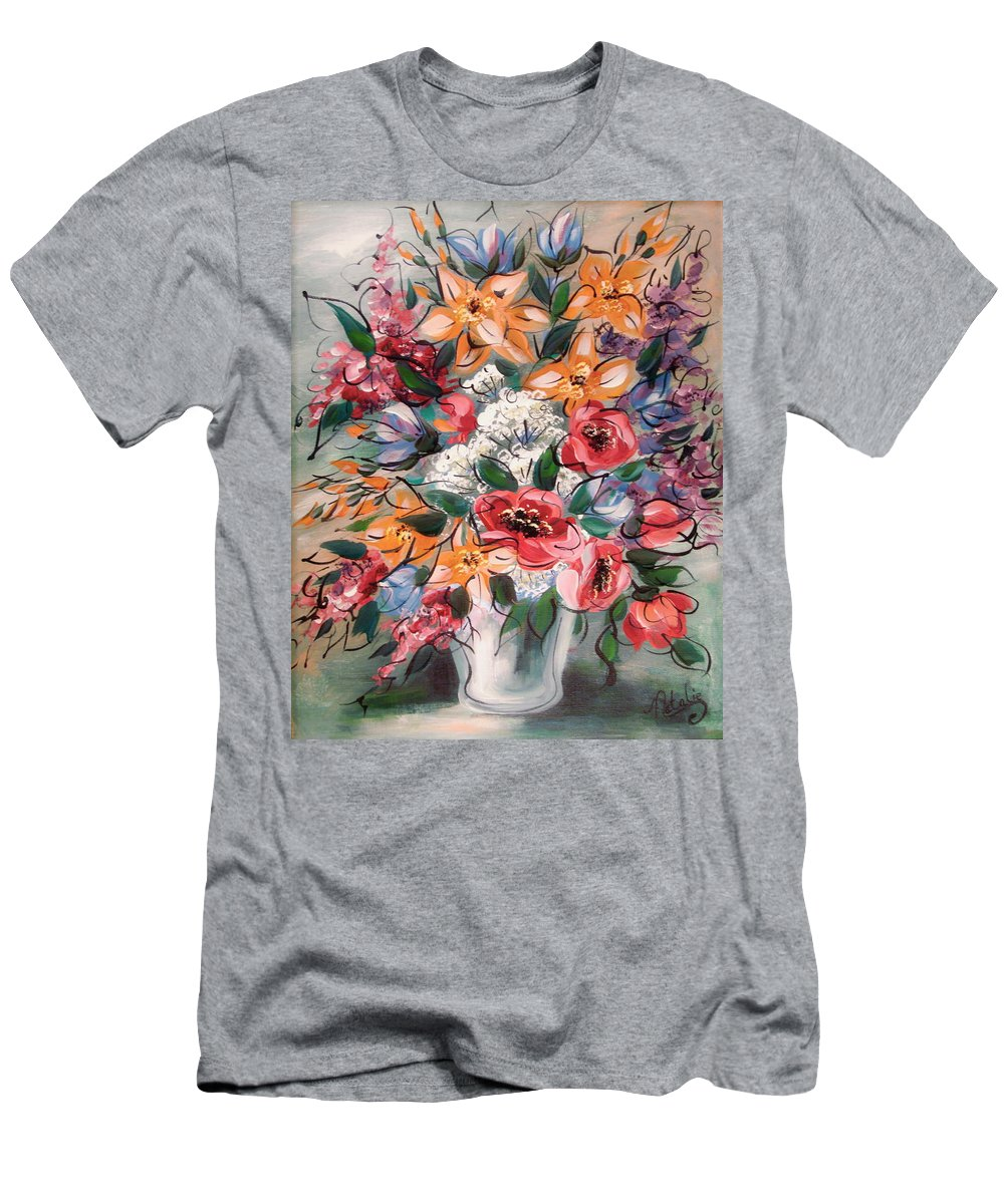 Flowers Men's T-Shirt (Athletic Fit) featuring the painting Garden Flowers by Natalie Holland