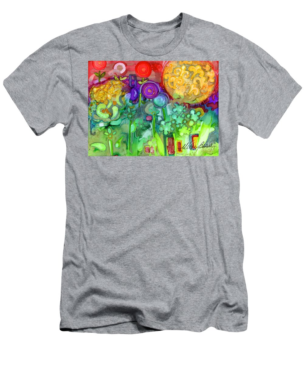 Abstract Floral Men's T-Shirt (Athletic Fit) featuring the painting Garden Sunset by Vicki Baun Barry