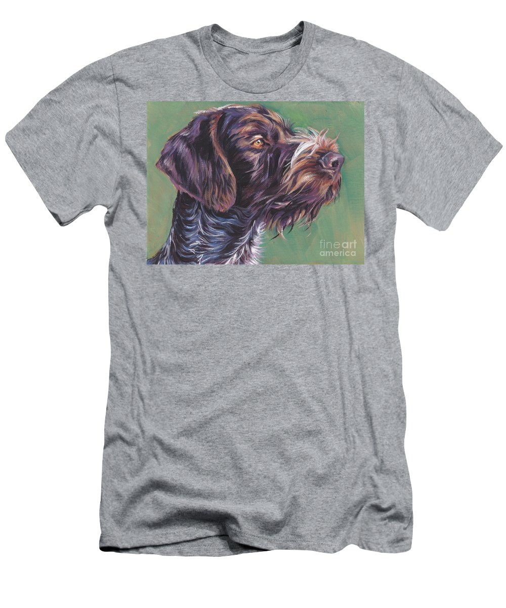 German Wirehaired Pointer Men's T-Shirt (Athletic Fit) featuring the painting German Wirehaired Pointer by Lee Ann Shepard