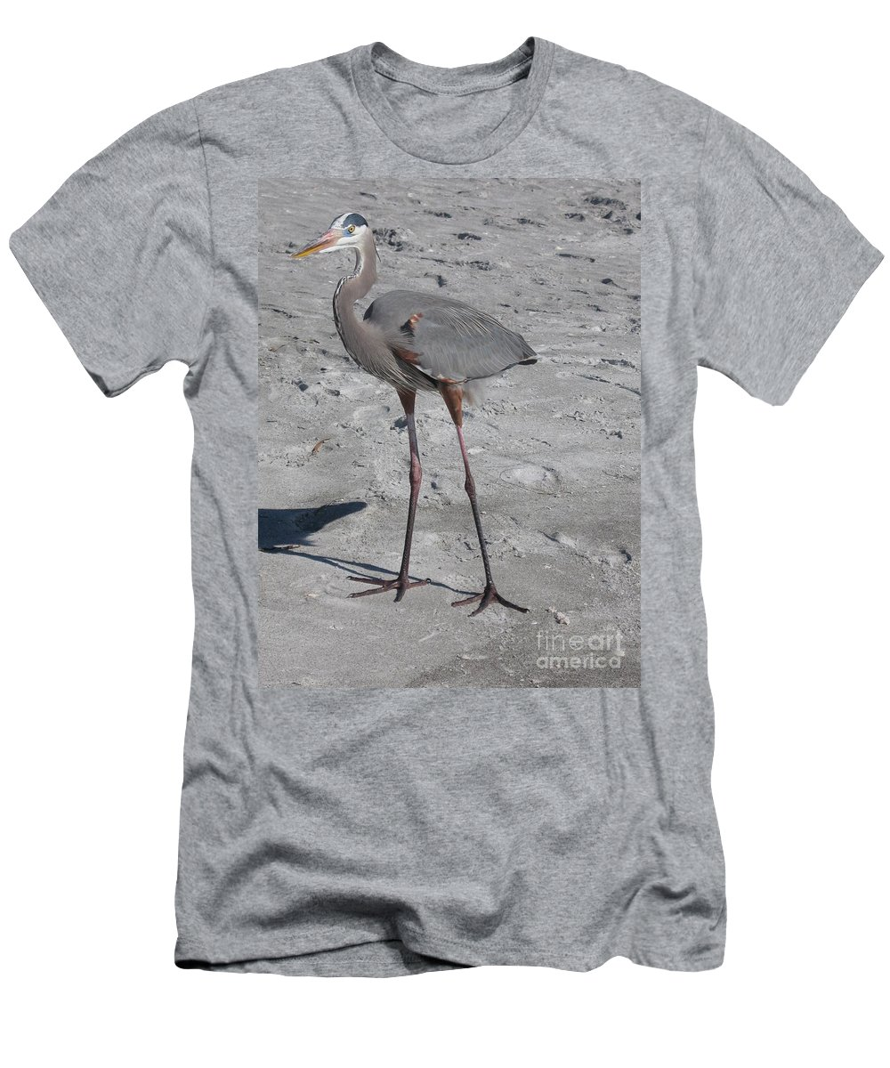 Heron Men's T-Shirt (Athletic Fit) featuring the photograph Great Blue Heron On The Beach by Christiane Schulze Art And Photography