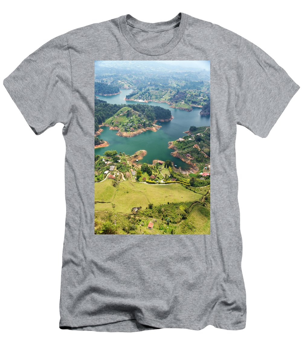 Colombia Men's T-Shirt (Athletic Fit) featuring the photograph Guatape Lake by Jess Kraft