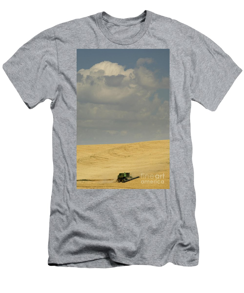 Harvest Men's T-Shirt (Athletic Fit) featuring the photograph Harvesting Wheat by John Shaw