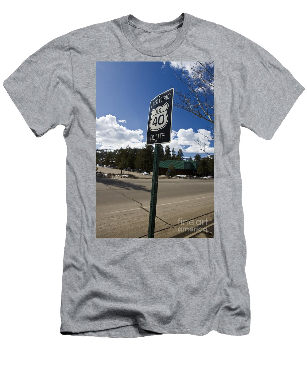 Travel Men's T-Shirt (Athletic Fit) featuring the photograph Historic Route Us 40 Sign by Jason O Watson