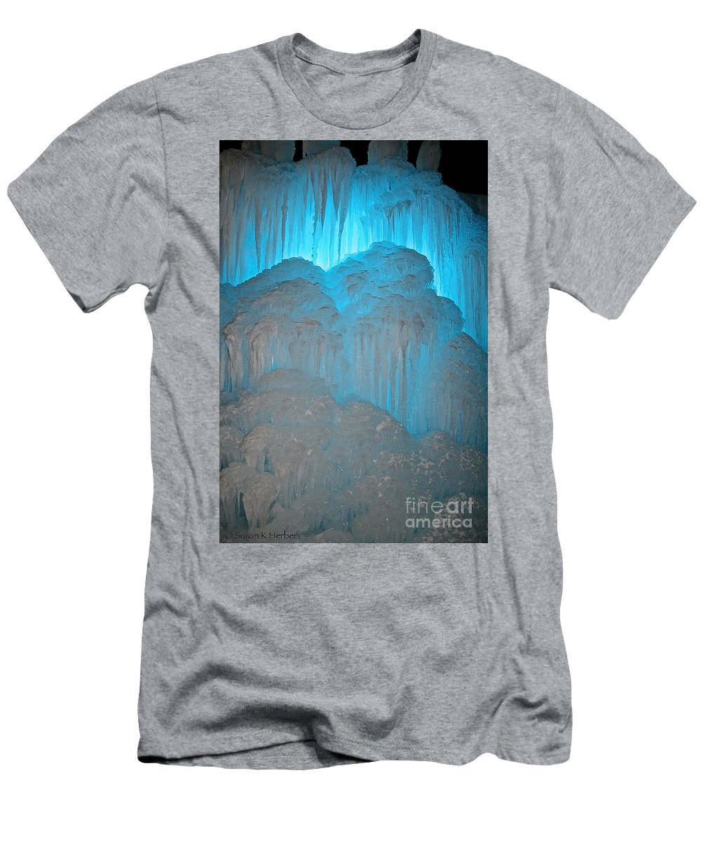 Ice Men's T-Shirt (Athletic Fit) featuring the photograph Ice Rising by Susan Herber