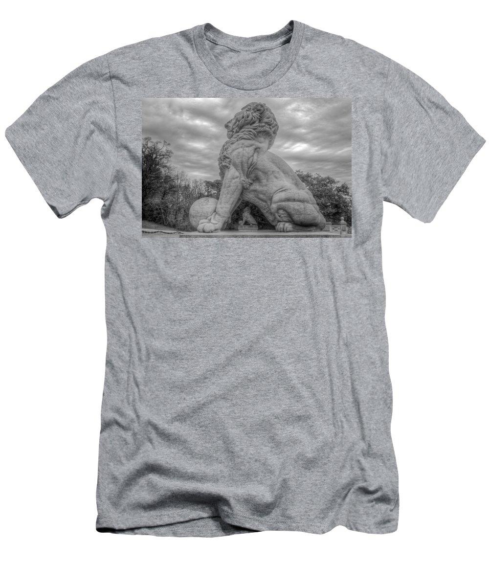 Double Lions Men's T-Shirt (Athletic Fit) featuring the photograph Lions Bridge West River Side by Jerry Gammon
