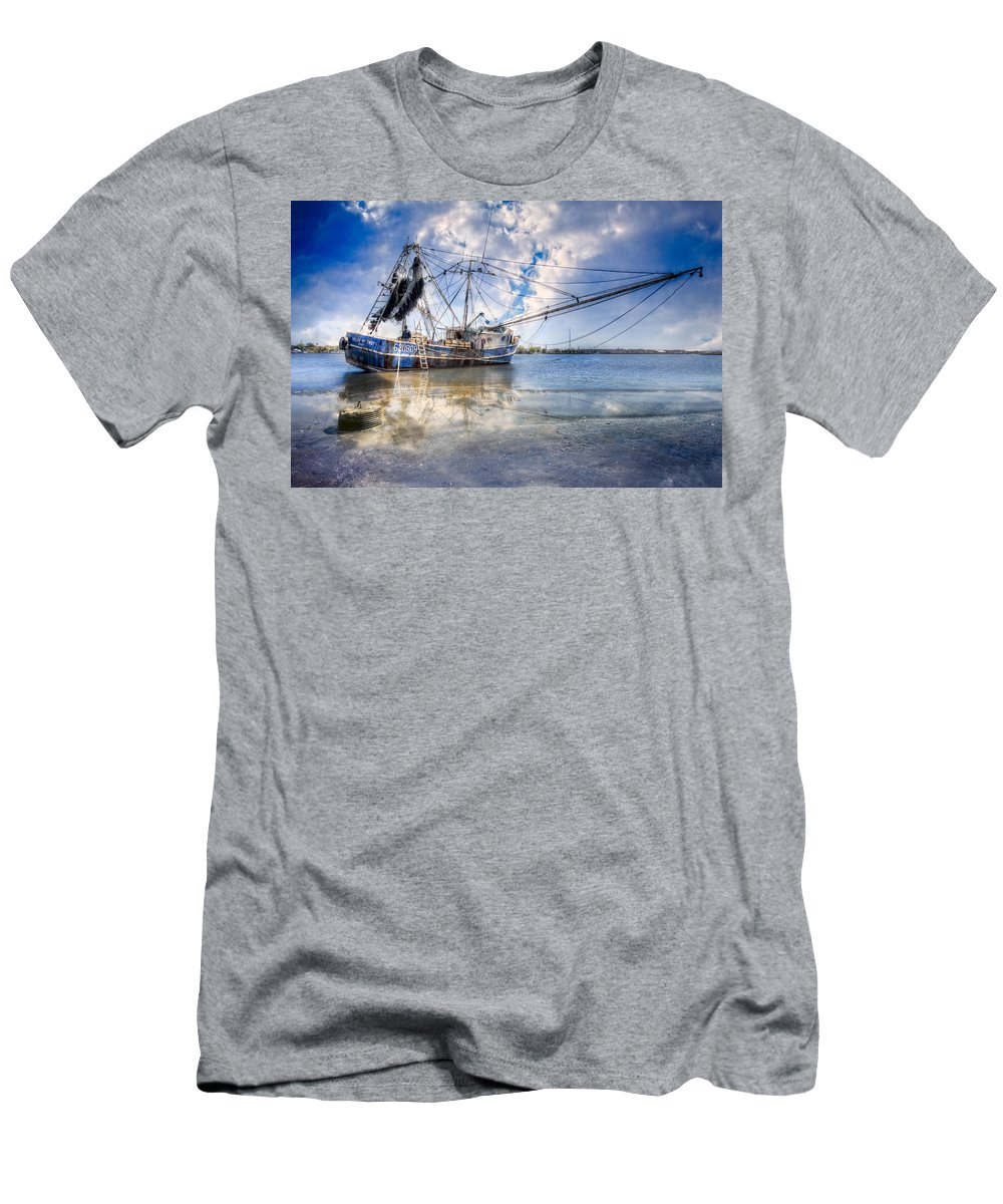 Boats Men's T-Shirt (Athletic Fit) featuring the photograph Low Tide by Debra and Dave Vanderlaan