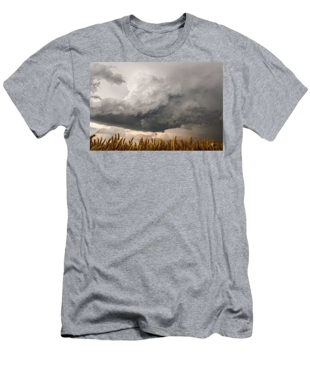 Storms Men's T-Shirt (Athletic Fit) featuring the photograph Marshmallow - Bubbling Storm Cloud Over Wheat In Kansas by Sean Ramsey