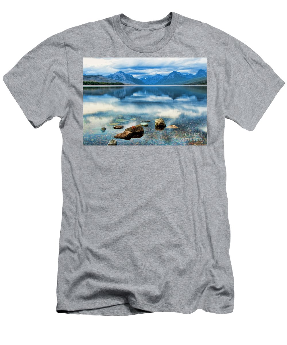 Mcdonald Lake Men's T-Shirt (Athletic Fit) featuring the photograph Mcdonald Lake by Gary Beeler