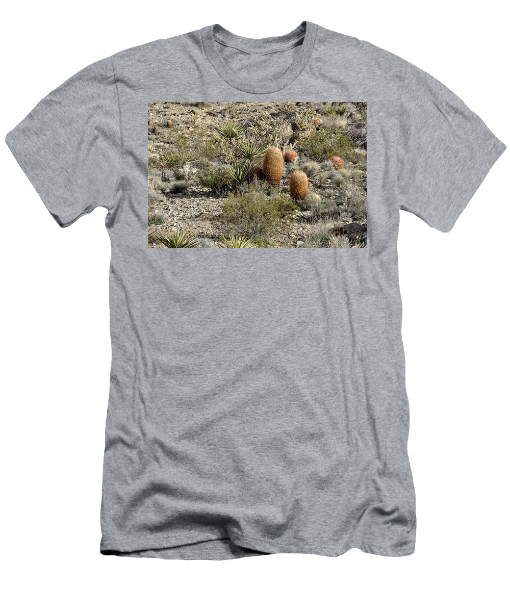 Cactus Men's T-Shirt (Athletic Fit) featuring the photograph Mojave Desert Cactus by Jim Thompson