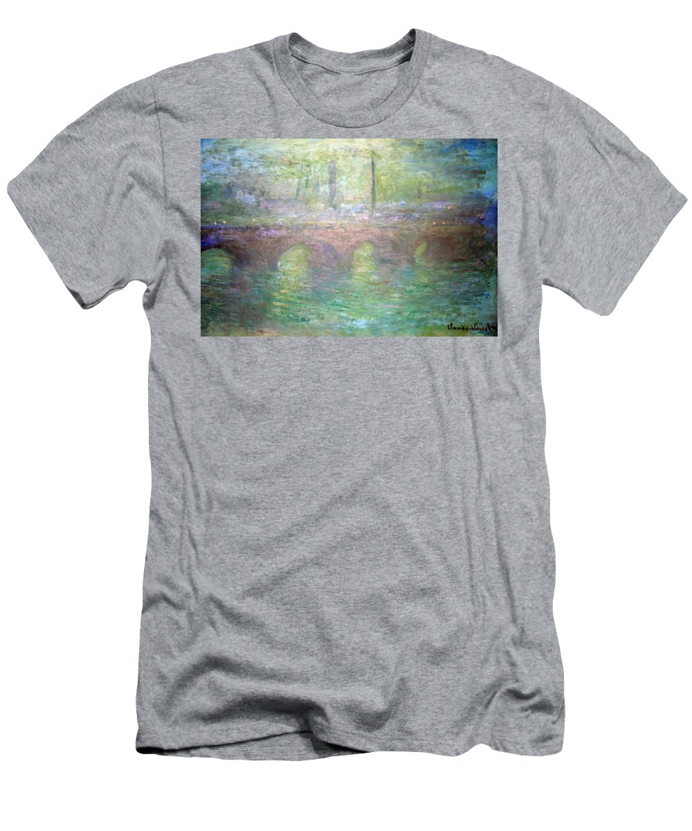 Waterloo Bridge In London At Dusk Men's T-Shirt (Athletic Fit) featuring the photograph Monet's Waterloo Bridge In London At Dusk by Cora Wandel
