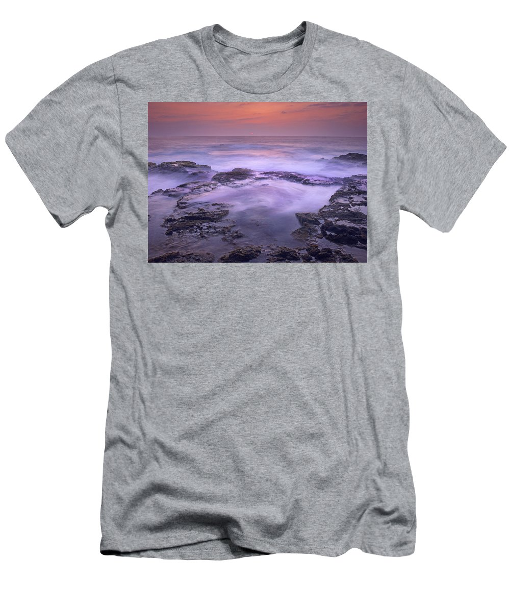 Feb0514 Men's T-Shirt (Athletic Fit) featuring the photograph Ocean And Lava Rocks At Sunset Puuhonua by Tim Fitzharris