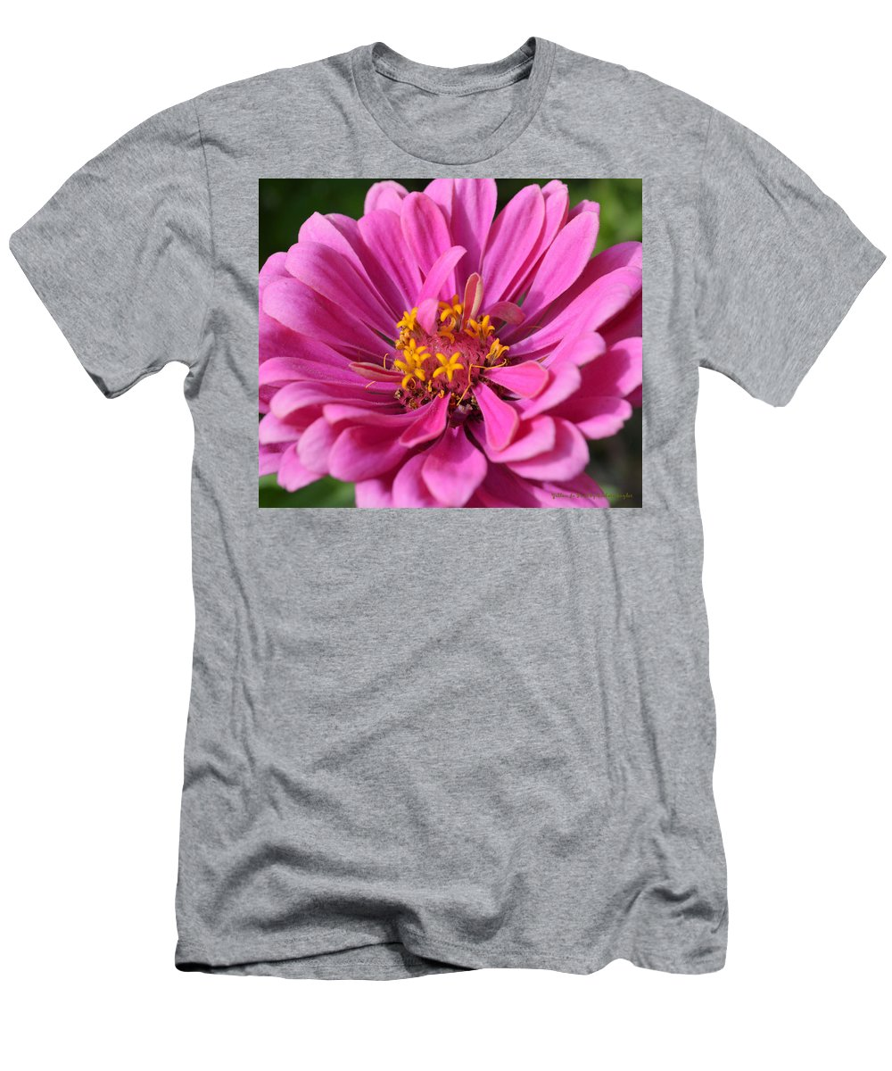 Barbara Snyder Men's T-Shirt (Athletic Fit) featuring the digital art Pink And Yellow Flower by Barbara Snyder