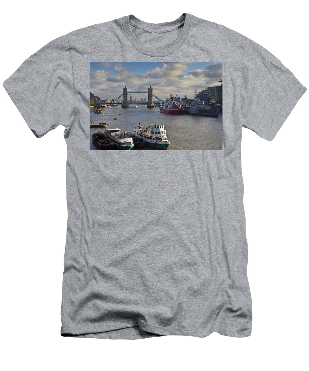 London Men's T-Shirt (Athletic Fit) featuring the photograph River Thames View by David Pyatt