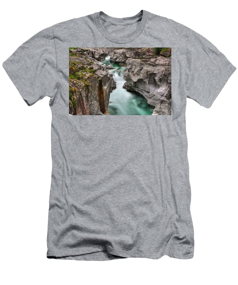 River Men's T-Shirt (Athletic Fit) featuring the photograph River With A Roman Bridge by Mats Silvan