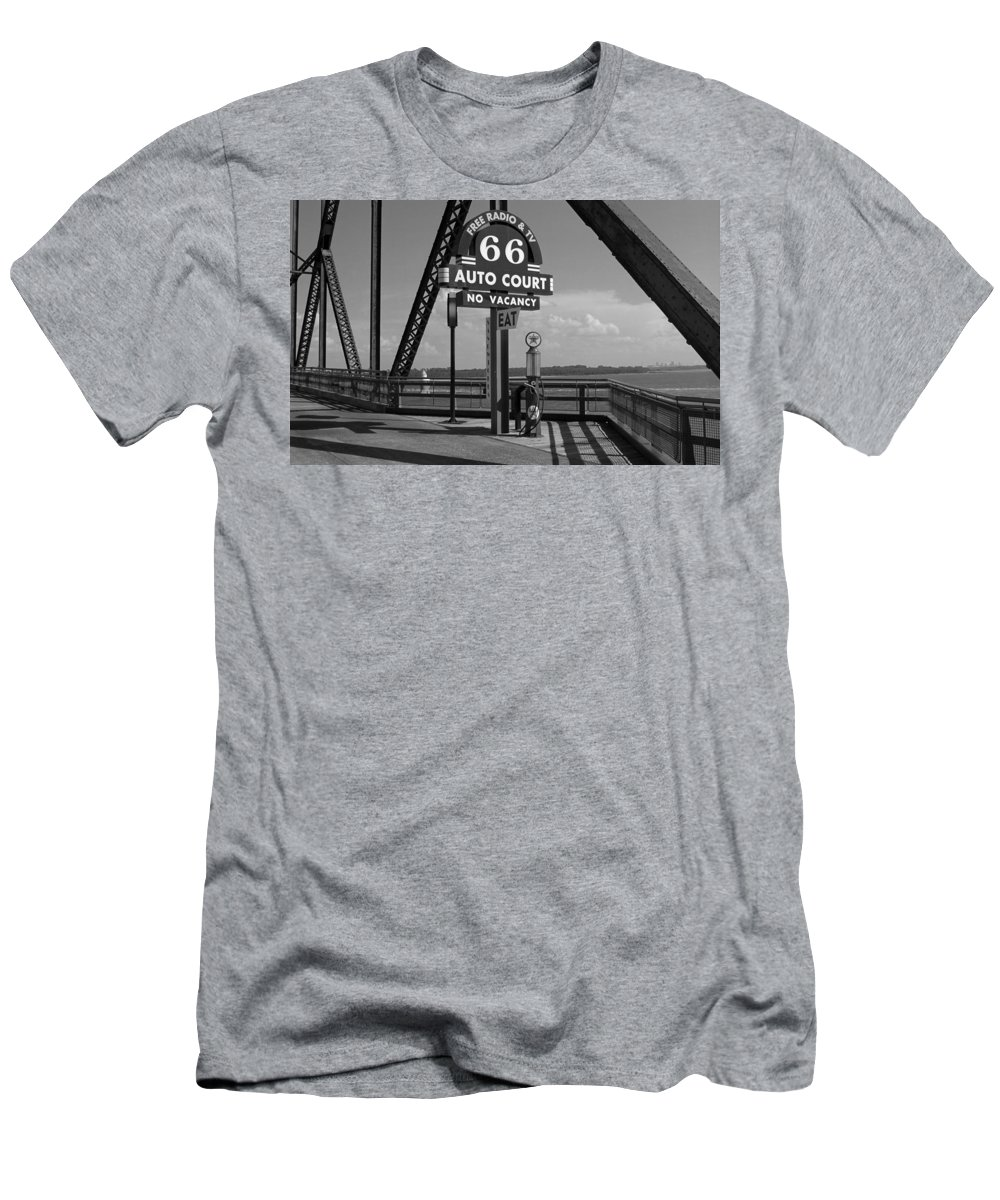 66 Men's T-Shirt (Athletic Fit) featuring the photograph Route 66 - Chain Of Rocks Bridge And Gas Pump by Frank Romeo