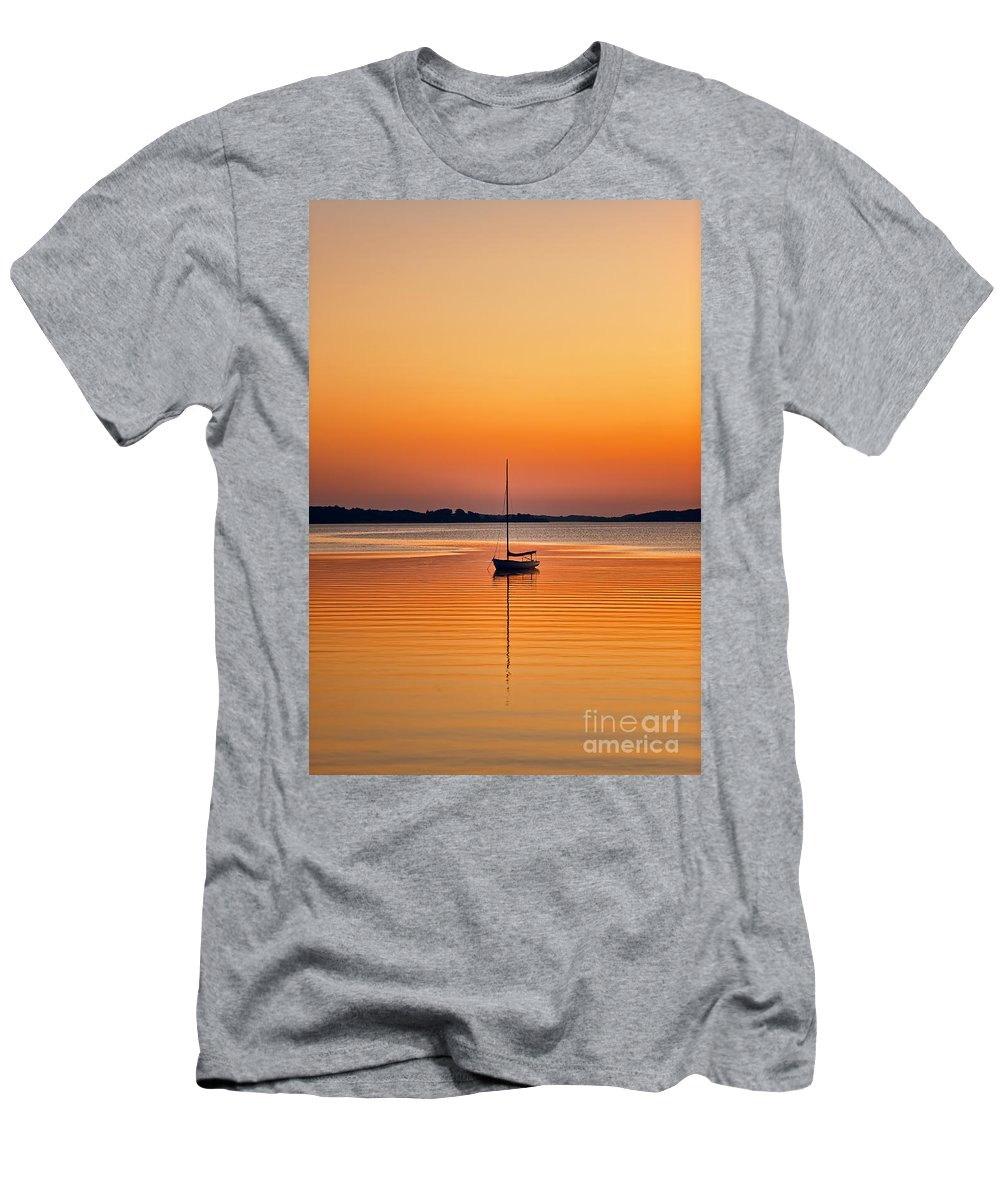 Cape Cod Men's T-Shirt (Athletic Fit) featuring the photograph Sailboat At Sunset by John Greim