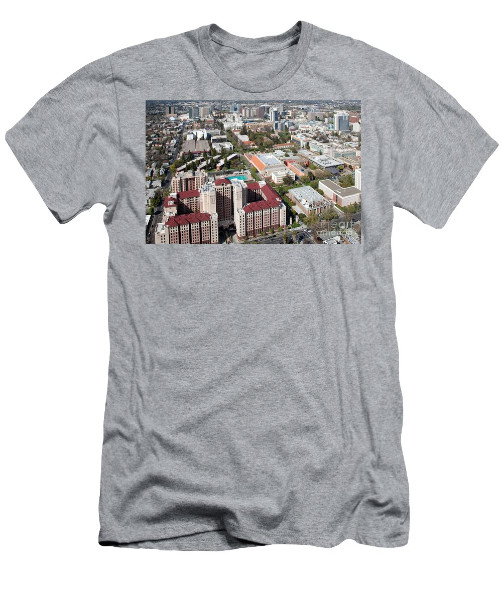 Aerial Men's T-Shirt (Athletic Fit) featuring the photograph San Jose State University by Bill Cobb
