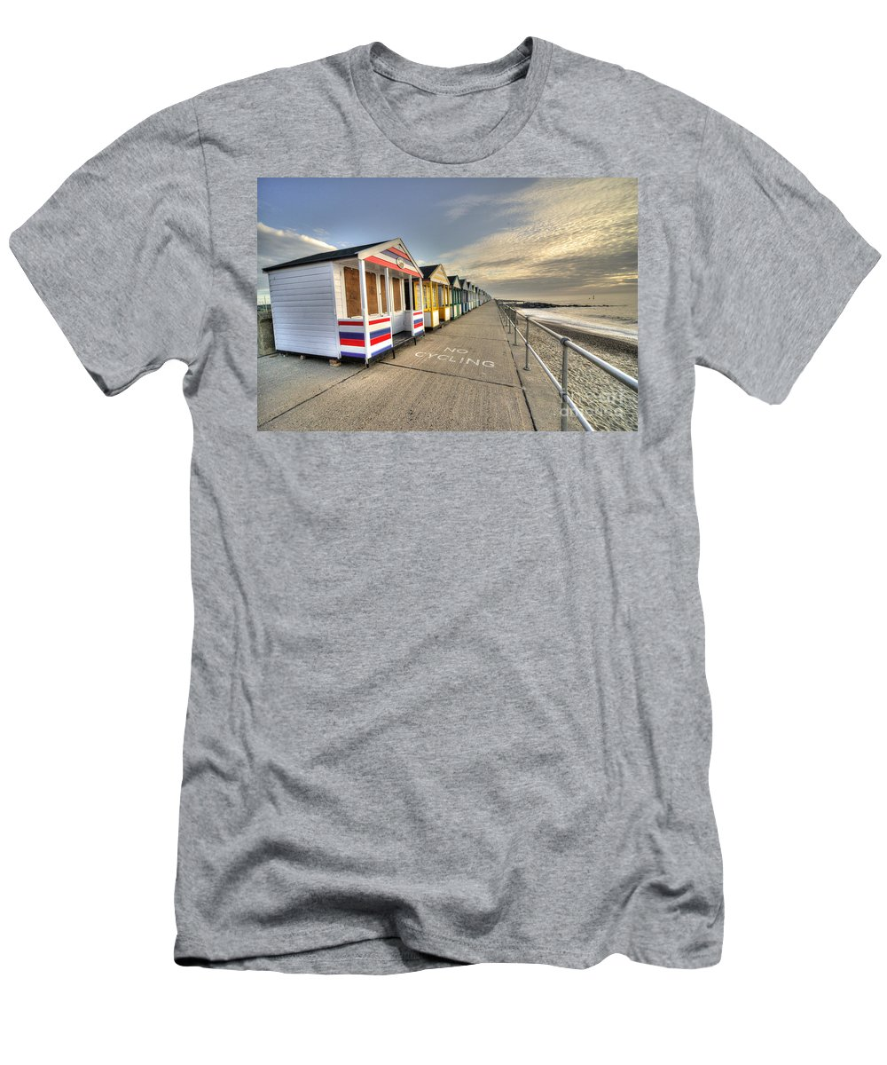 Southwold Men's T-Shirt (Athletic Fit) featuring the photograph Southwold Beach Huts by Rob Hawkins
