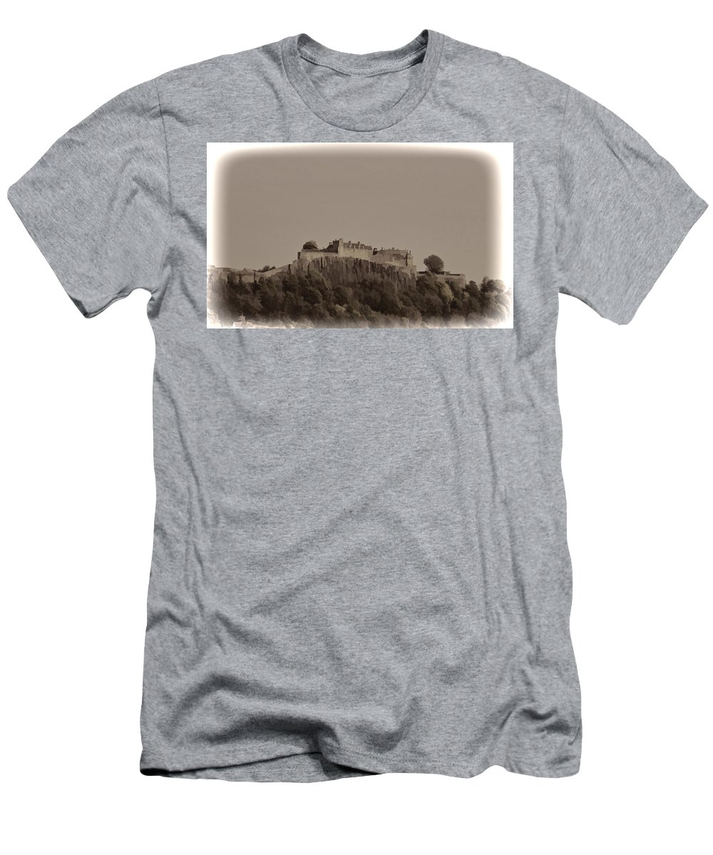 Building Men's T-Shirt (Athletic Fit) featuring the photograph Stirling Castle Located At A Height Above The Surrounding Area by Ashish Agarwal