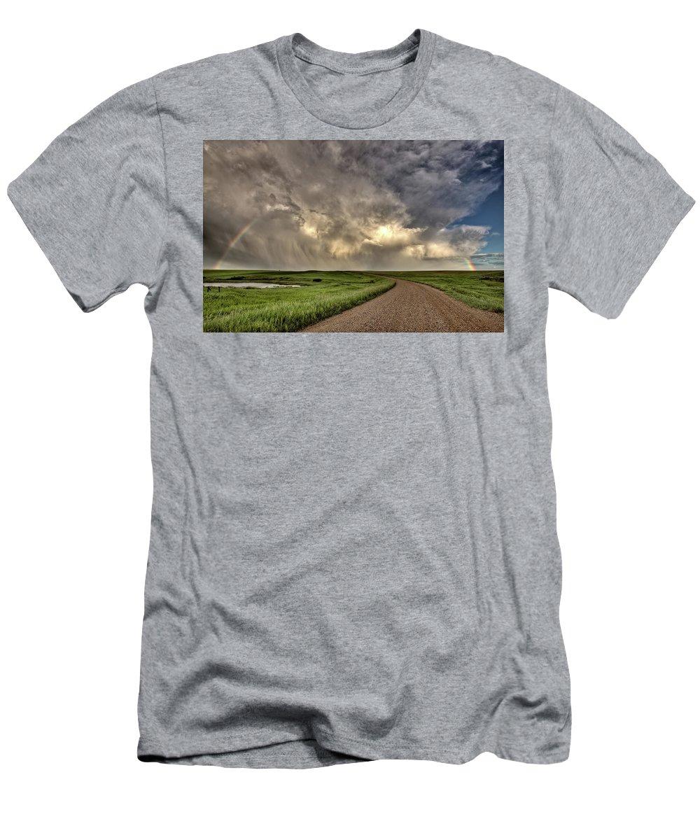 Nature Men's T-Shirt (Athletic Fit) featuring the digital art Storm Clouds Prairie Sky Saskatchewan by Mark Duffy