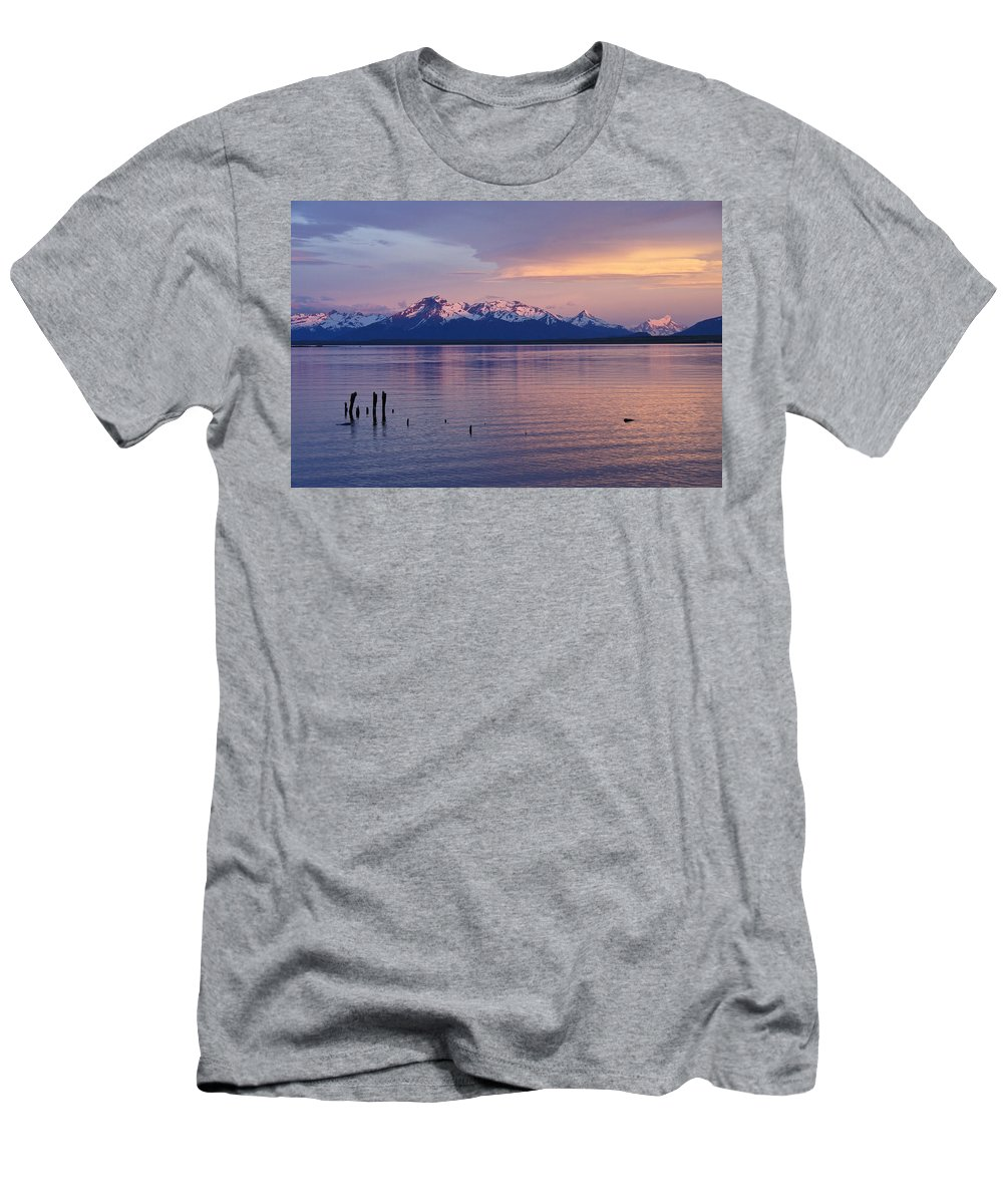 Chile Men's T-Shirt (Athletic Fit) featuring the photograph Sunrise Over Ultima Esperanza by Michele Burgess