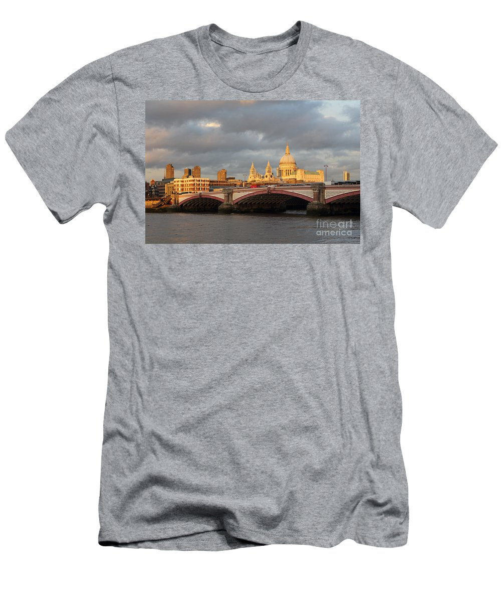 Sunset Over St Paul's Cathedral Men's T-Shirt (Athletic Fit) featuring the photograph Sunset Over St Pauls Cathedral London by Julia Gavin