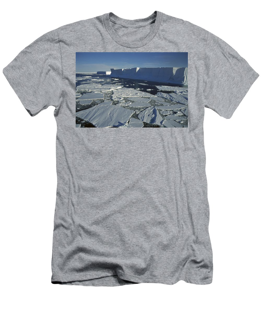 Feb0514 Men's T-Shirt (Athletic Fit) featuring the photograph Tabular Iceberg With Broken Fast Ice by Tui De Roy