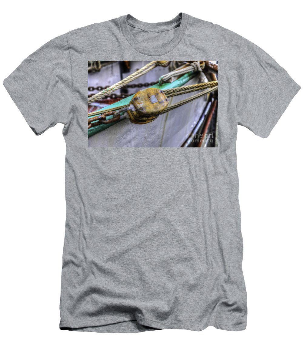 Tall Ship Men's T-Shirt (Athletic Fit) featuring the photograph Tall Ship Wooden Line Block by Dale Powell