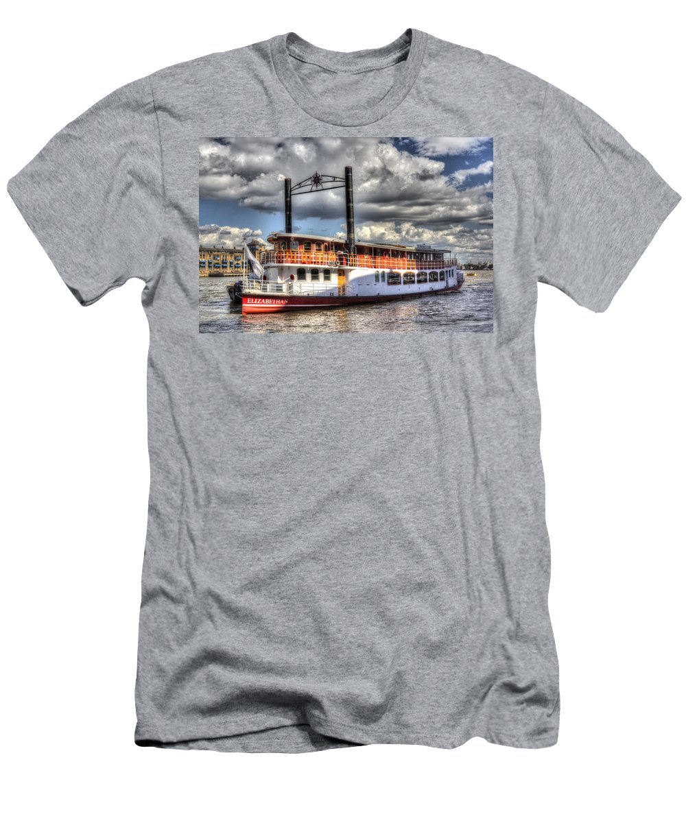 Paddle Steamer Men's T-Shirt (Athletic Fit) featuring the photograph The Elizabethan Paddle Steamer by David Pyatt
