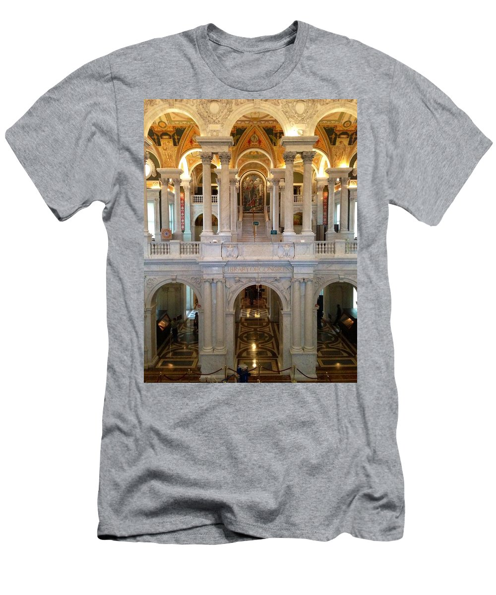 Library Of Congress Men's T-Shirt (Athletic Fit) featuring the photograph The Jefferson Building Library Of Congress by Lois Ivancin Tavaf