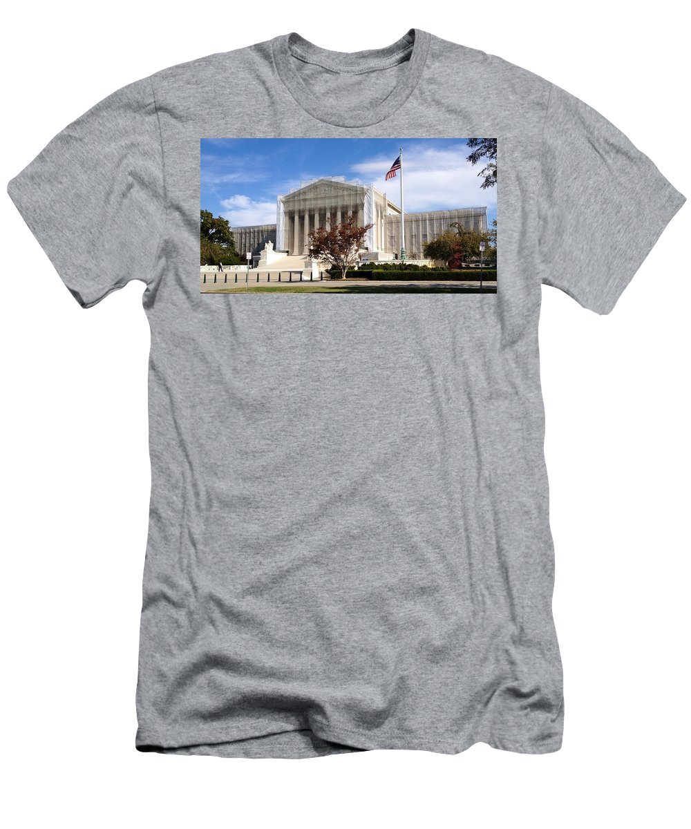 Supreme Court Men's T-Shirt (Athletic Fit) featuring the photograph The Supreme Court Facade by Lois Ivancin Tavaf