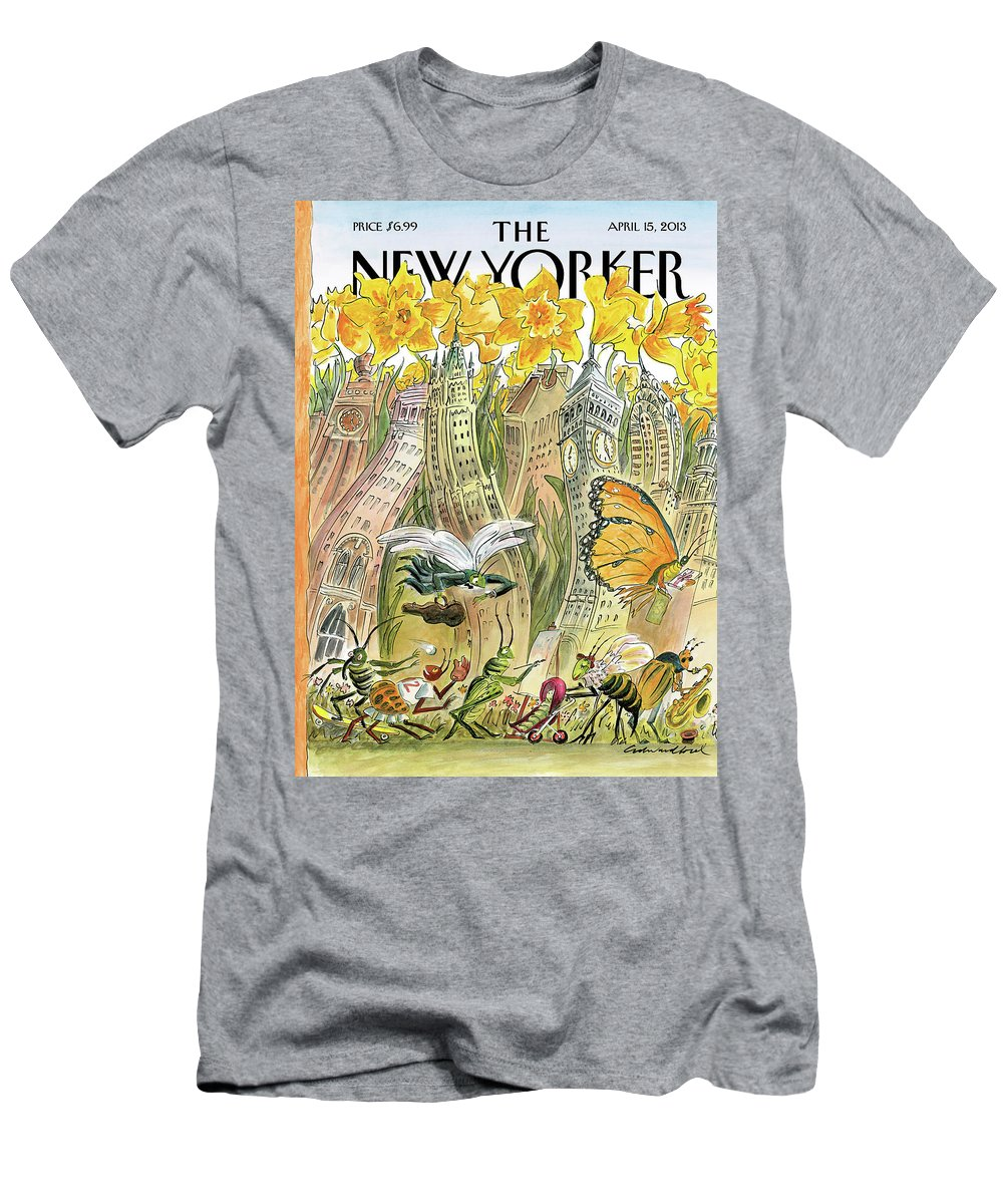 Blossom Men's T-Shirt (Athletic Fit) featuring the painting Blossom Time by Edward Sorel