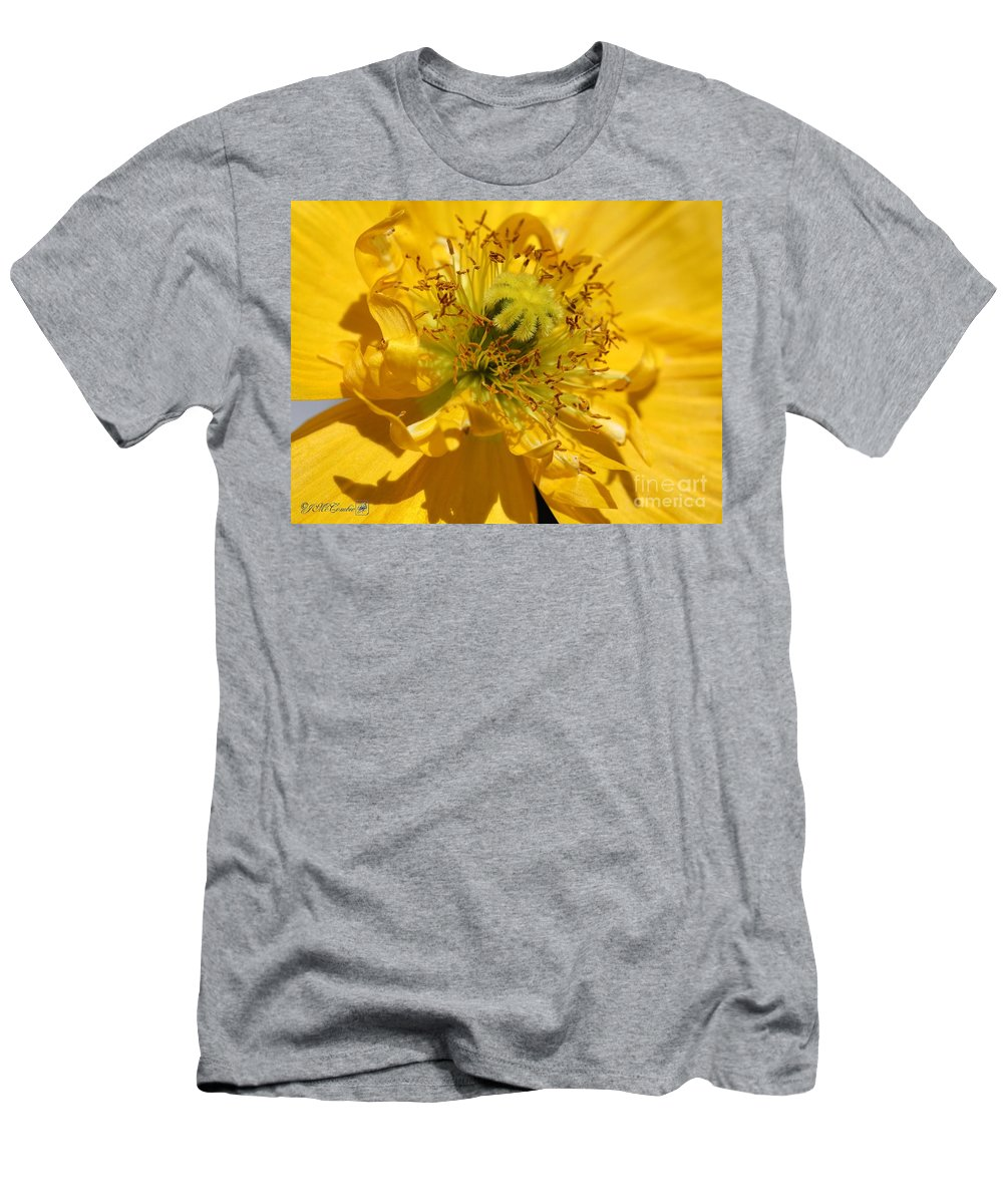 Mccombie Men's T-Shirt (Athletic Fit) featuring the photograph Yellow Iceland Poppy by J McCombie