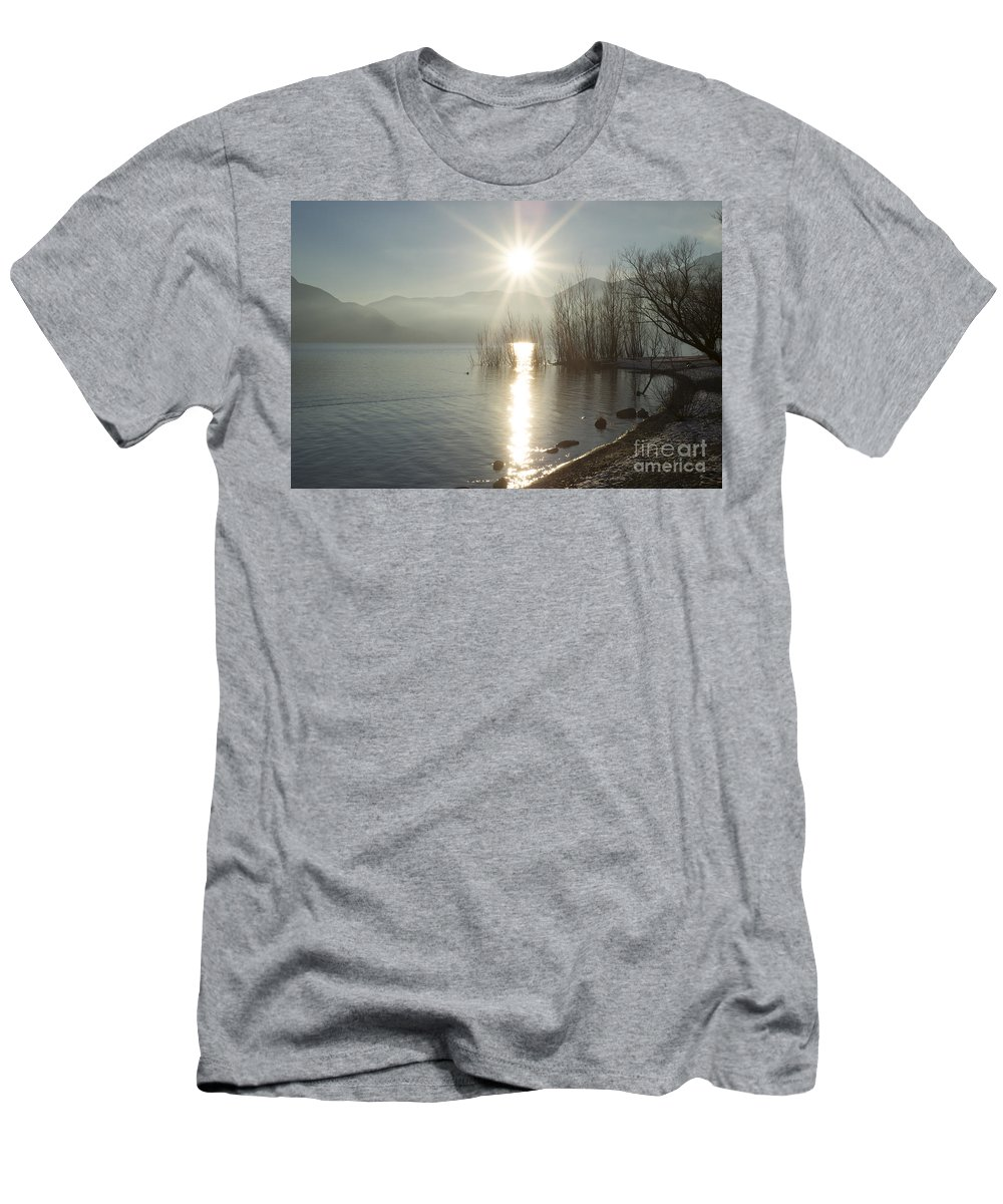 Sun Men's T-Shirt (Athletic Fit) featuring the photograph Sunshine Over An Alpine Lake by Mats Silvan