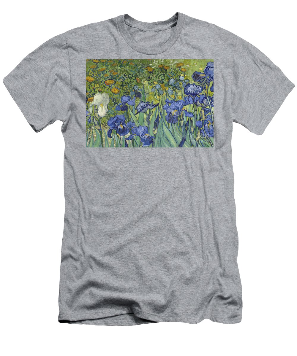 Irises Men's T-Shirt (Athletic Fit) featuring the painting Irises by Vincent Van Gogh