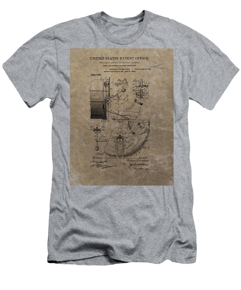1909 Drum Patent T-Shirt featuring the drawing 1909 Drum Patent by Dan Sproul