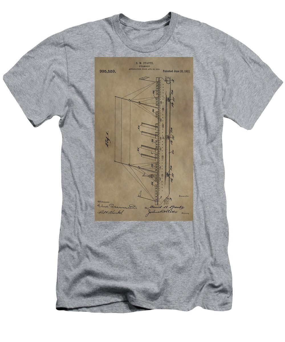 1911 Steamship Patent Men's T-Shirt (Athletic Fit) featuring the mixed media 1911 Steamship Patent by Dan Sproul
