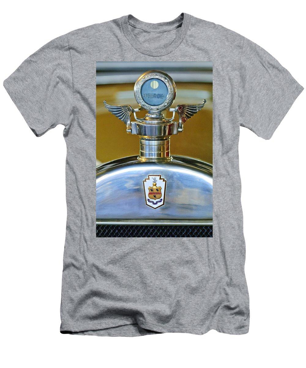 1928 Pierce-arrow Model 36 7-passenger Touring Car Men's T-Shirt (Athletic Fit) featuring the photograph 1928 Pierce-arrow Hood Ornament by Jill Reger