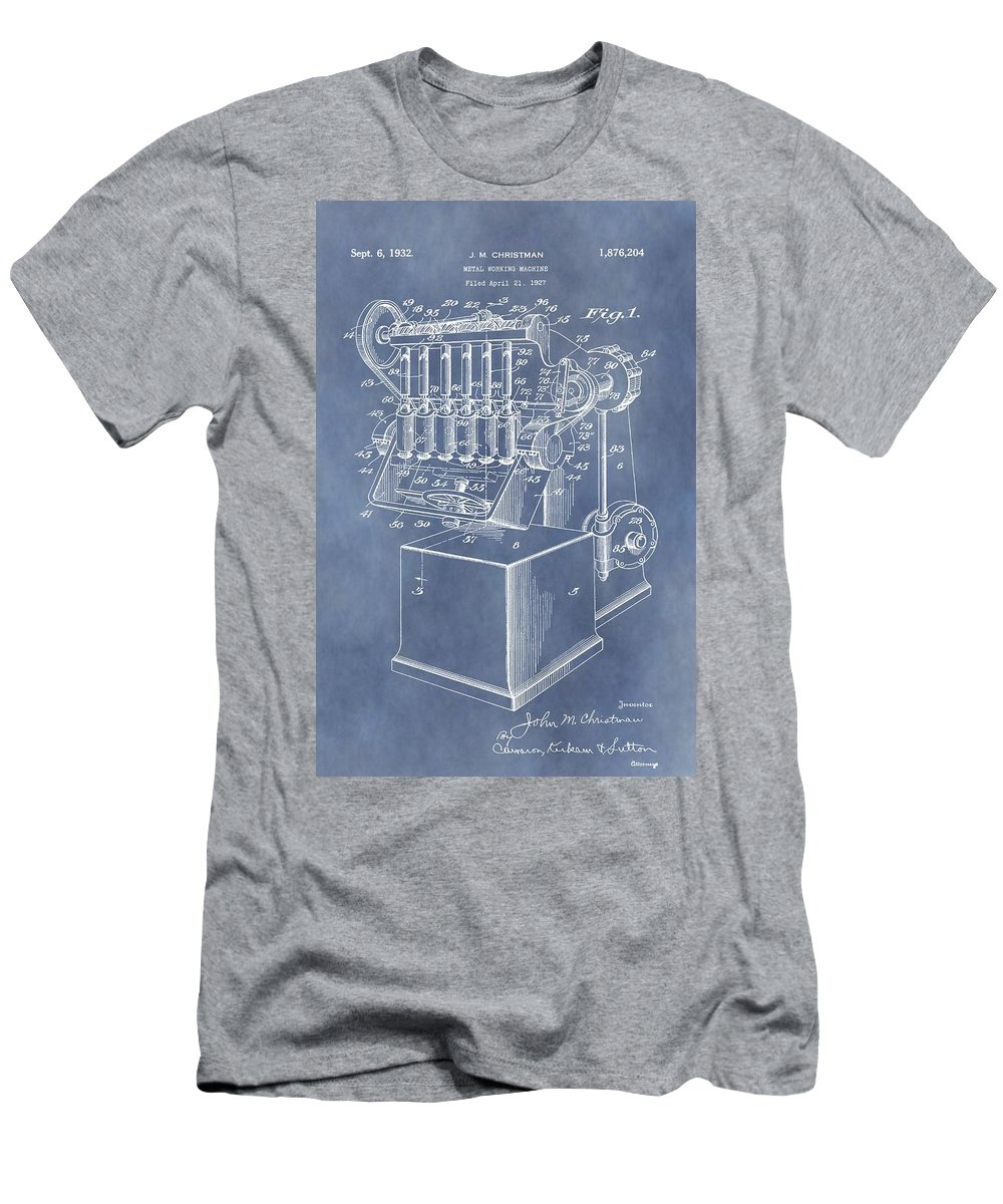Metal Working Machine Patent Men's T-Shirt (Athletic Fit) featuring the digital art 1932 Machine Patent by Dan Sproul