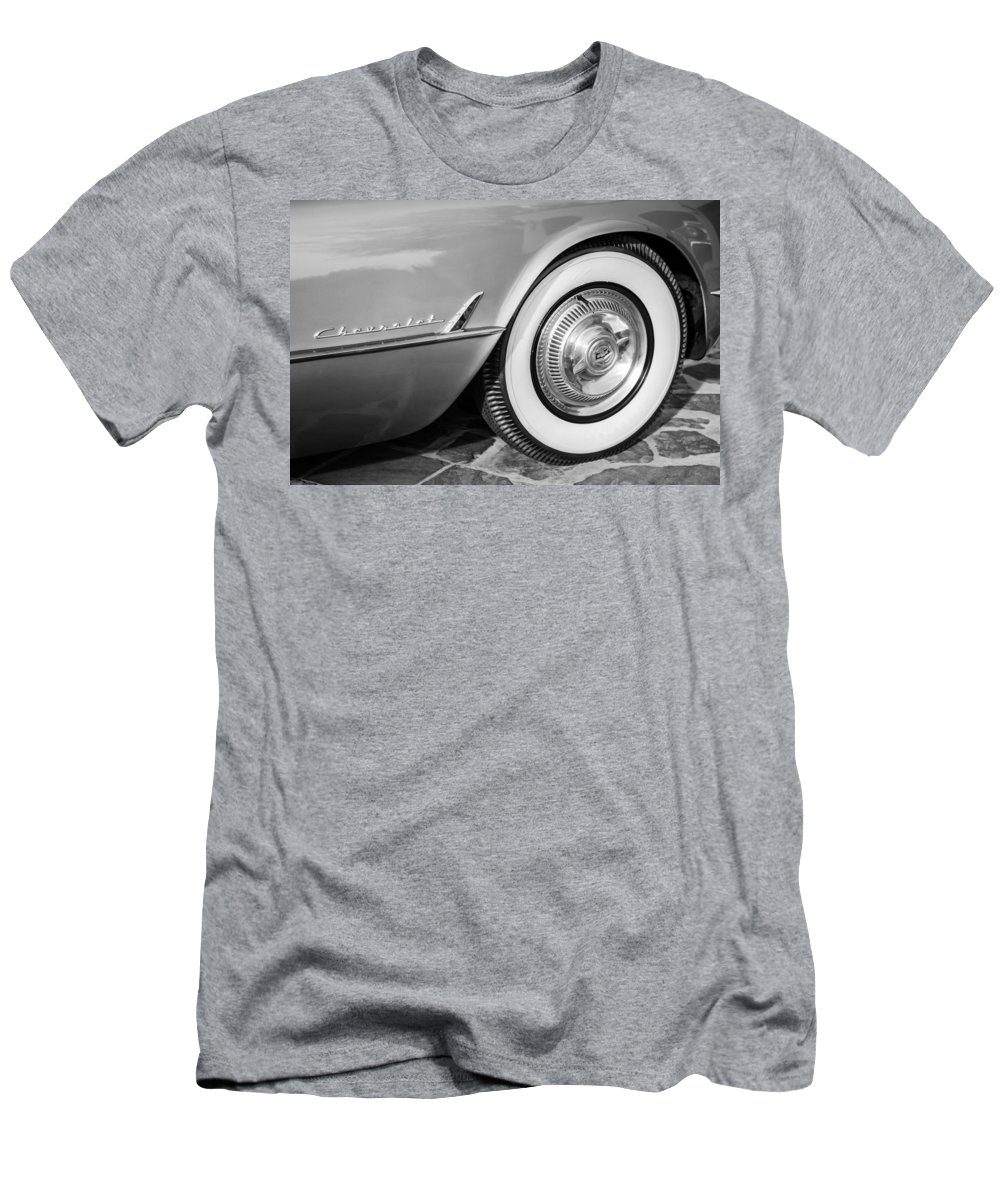 1954 Chevrolet Corvette Wheel Emblem Men's T-Shirt (Athletic Fit) featuring the photograph 1954 Chevrolet Corvette Wheel Emblem -159bw by Jill Reger