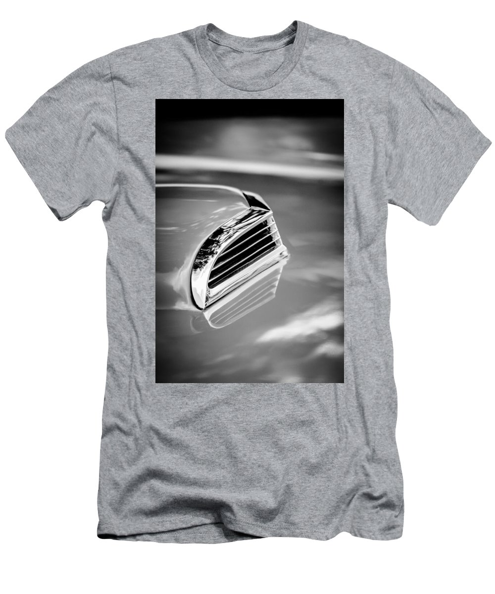 1956 Ford Thunderbird Hood Scoop Men's T-Shirt (Athletic Fit) featuring the photograph 1956 Ford Thunderbird Hood Scoop -287bw by Jill Reger