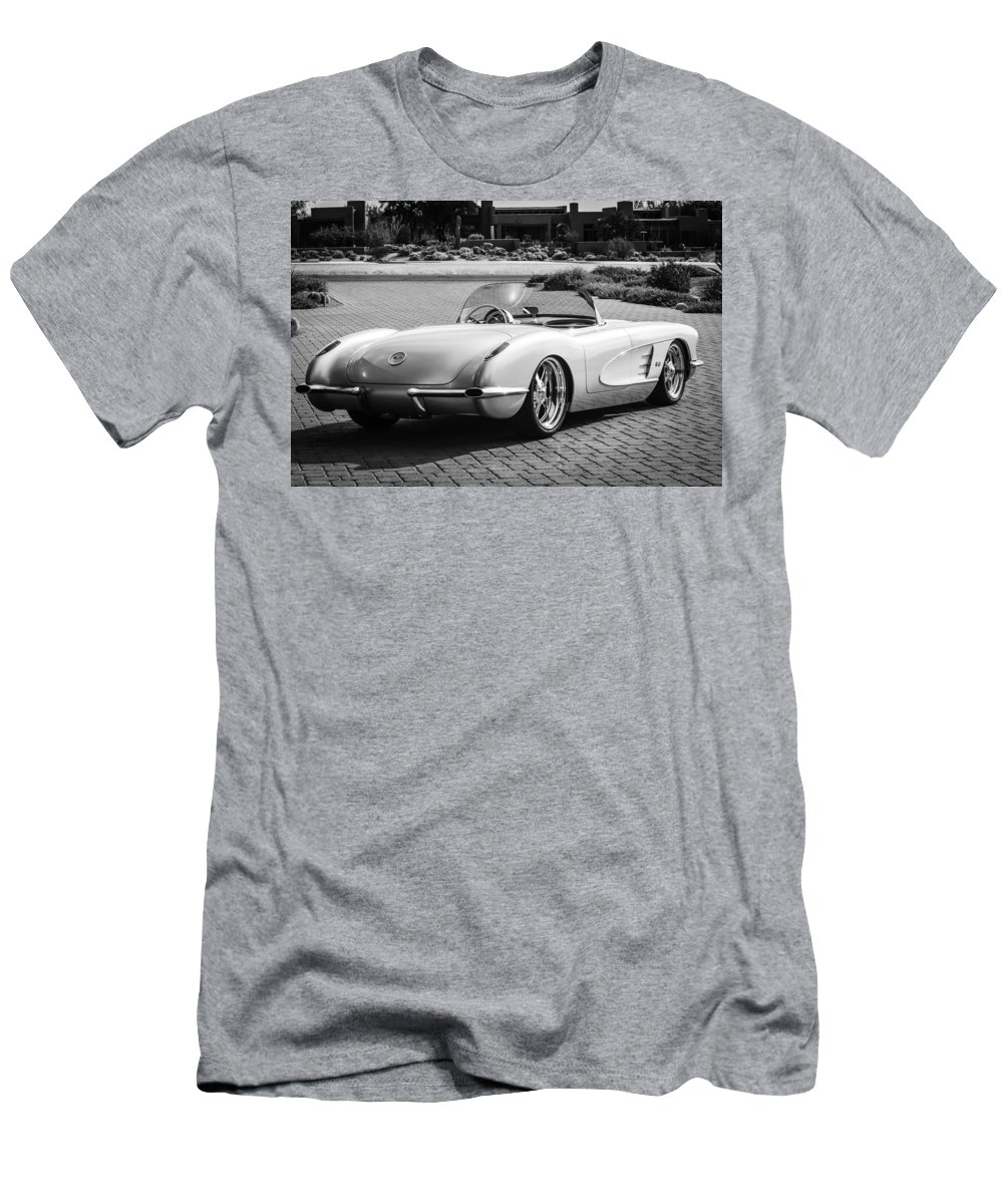 1960 Chevrolet Corvette Men's T-Shirt (Athletic Fit) featuring the photograph 1960 Chevrolet Corvette -0880bw by Jill Reger