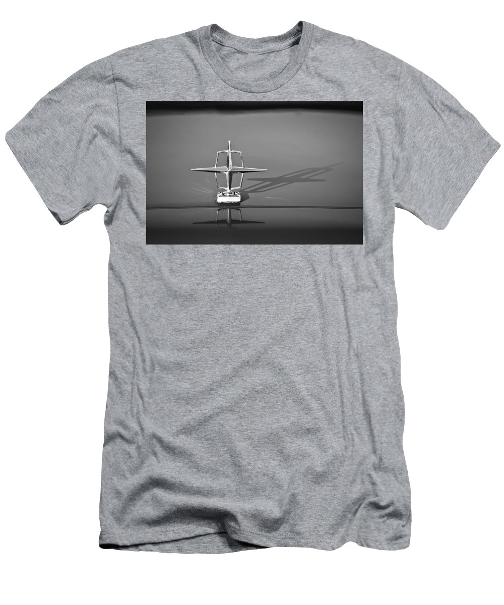 1967 Lincoln Continental Hood Ornament Men's T-Shirt (Athletic Fit) featuring the photograph 1967 Lincoln Continental Hood Ornament -158bw by Jill Reger