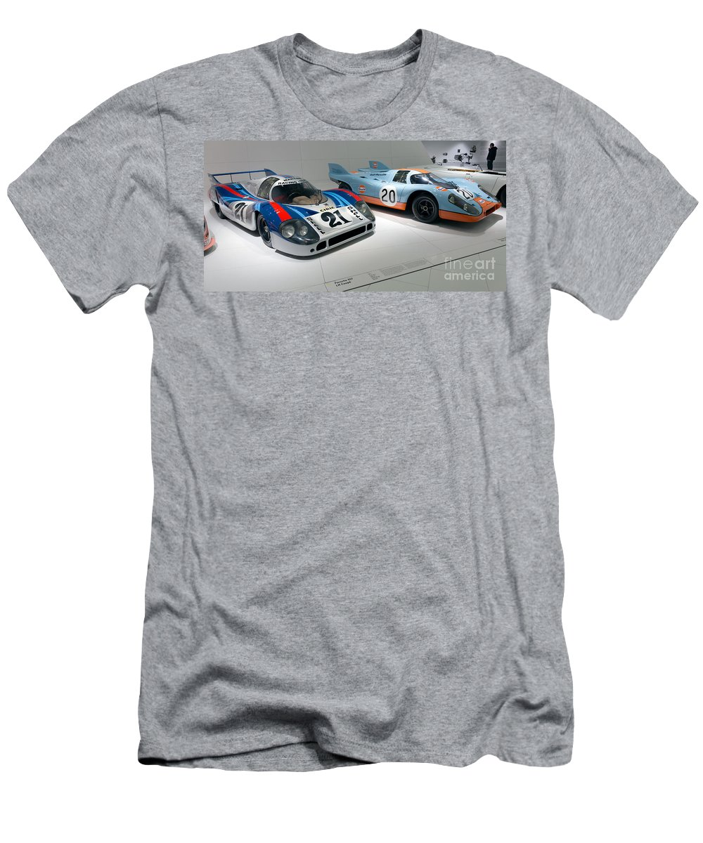 3d Men's T-Shirt (Athletic Fit) featuring the photograph 1972 Porsche 917 Lh Coupe And 1970 Porsche 917 Kh Coupe by Paul Fearn