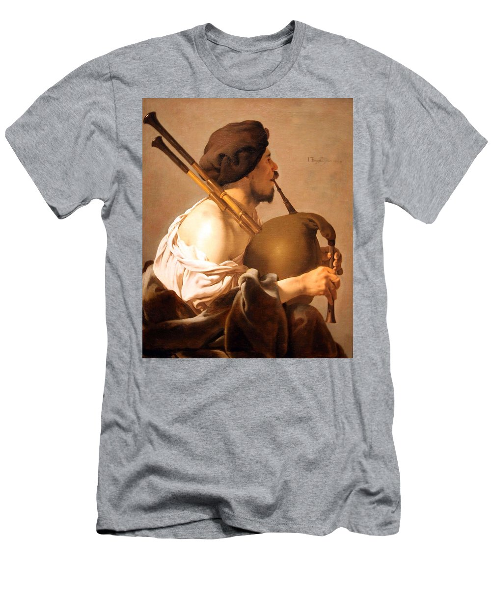 Bagpiper Player Men's T-Shirt (Athletic Fit) featuring the photograph Brugghen's Bagpiper Player by Cora Wandel