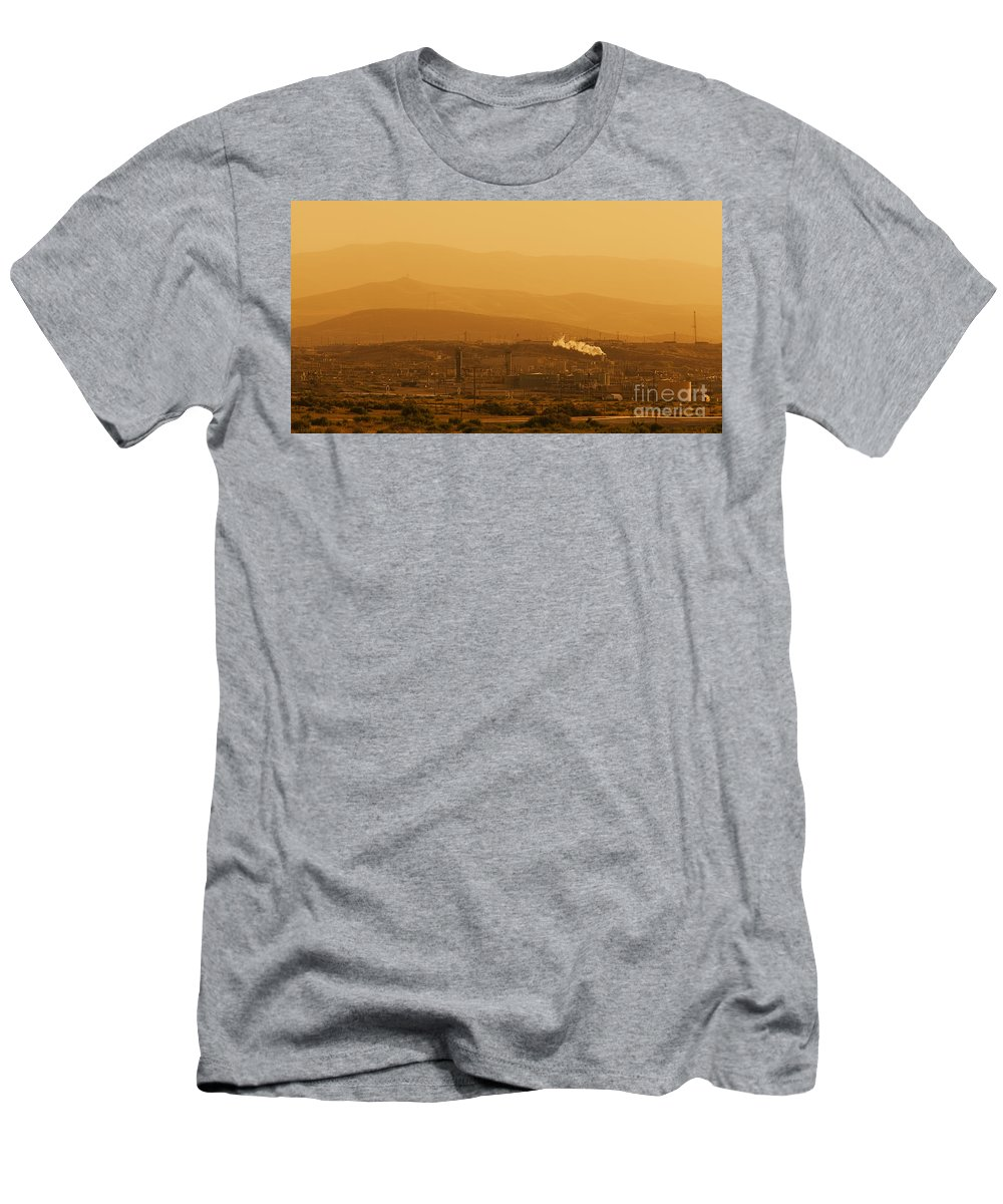 Usa Men's T-Shirt (Athletic Fit) featuring the photograph California Oil Field Under Amber Sky by B Christopher