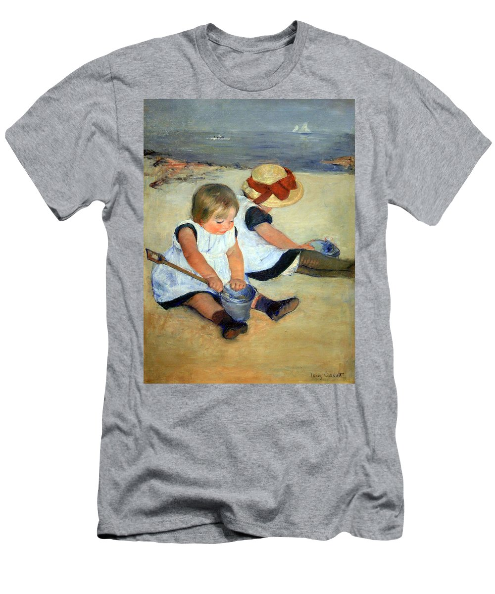 Children Playing On The Beach Men's T-Shirt (Athletic Fit) featuring the photograph Cassatt's Children Playing On The Beach by Cora Wandel